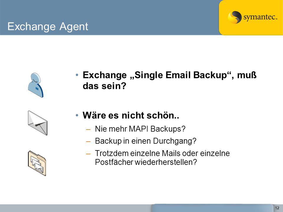 12 Exchange Agent Exchange Single Email Backup, muß das sein? Wäre es nicht schön.. –Nie mehr MAPI Backups? –Backup in einen Durchgang? –Trotzdem einz