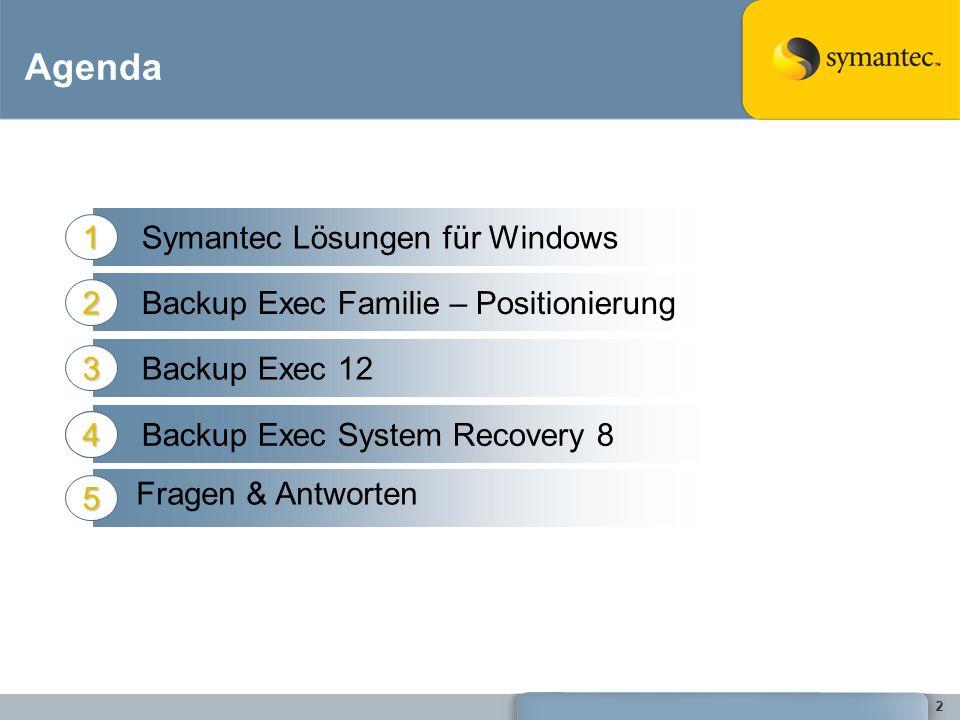 22 Agenda Symantec Lösungen für Windows1 Backup Exec Familie – Positionierung2 Backup Exec 123 5 5 Backup Exec System Recovery 84 Fragen & Antworten