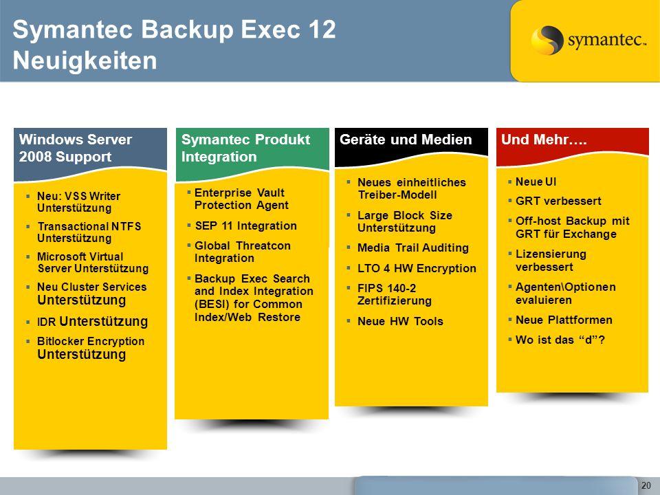 20 Symantec Backup Exec 12 Neuigkeiten Windows Server 2008 Support Neu: VSS Writer Unterstützung Transactional NTFS Unterstützung Microsoft Virtual Se