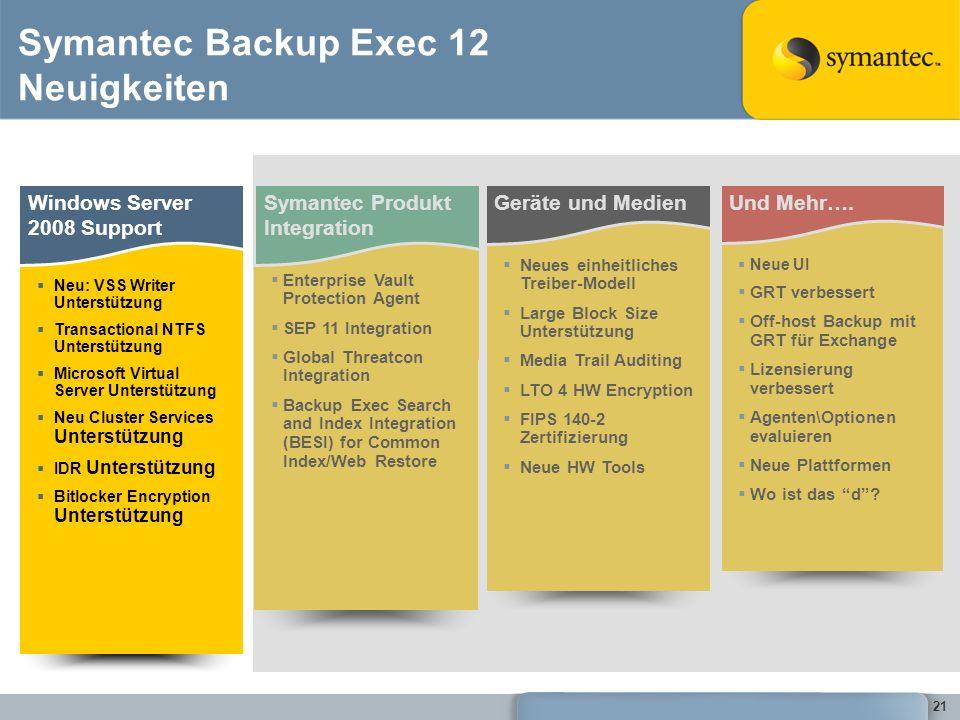 21 Symantec Backup Exec 12 Neuigkeiten Windows Server 2008 Support Neu: VSS Writer Unterstützung Transactional NTFS Unterstützung Microsoft Virtual Se