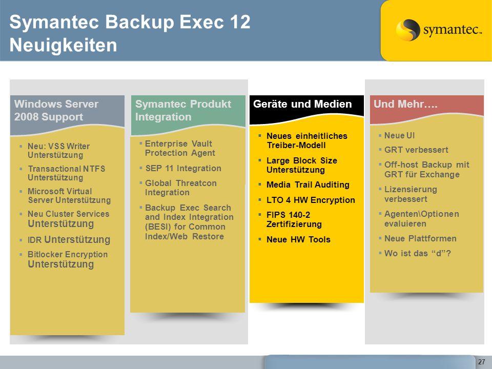 27 Symantec Backup Exec 12 Neuigkeiten Windows Server 2008 Support Neu: VSS Writer Unterstützung Transactional NTFS Unterstützung Microsoft Virtual Se