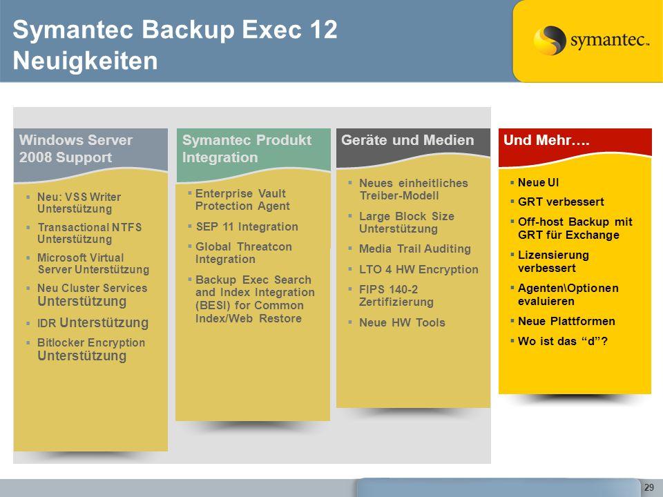 29 Symantec Backup Exec 12 Neuigkeiten Windows Server 2008 Support Neu: VSS Writer Unterstützung Transactional NTFS Unterstützung Microsoft Virtual Se