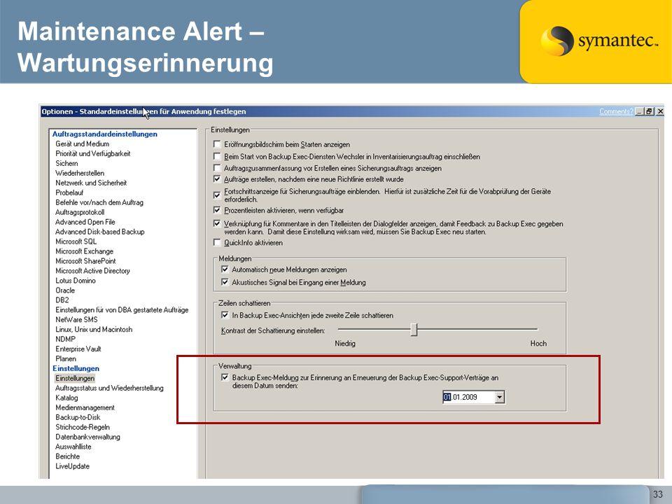 33 Maintenance Alert – Wartungserinnerung