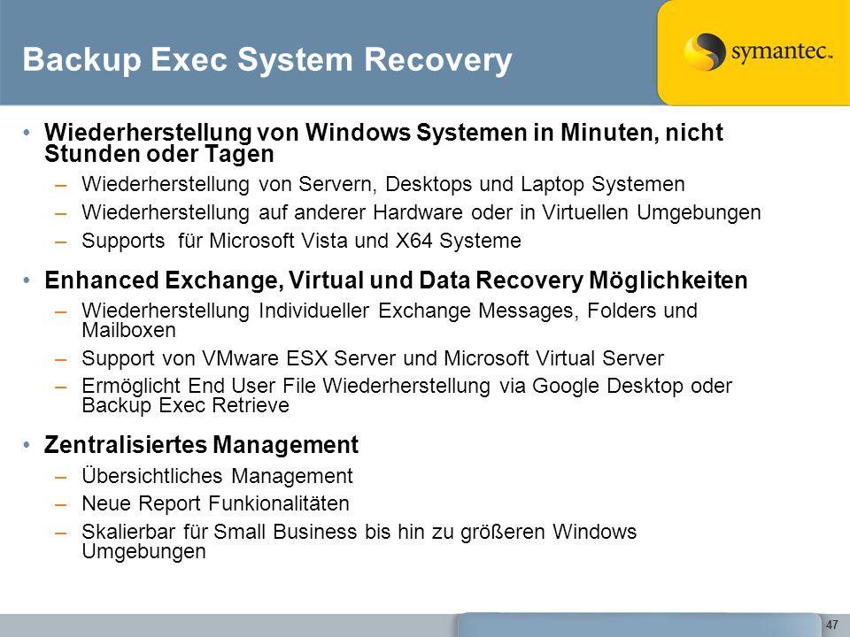 47 Backup Exec System Recovery Wiederherstellung von Windows Systemen in Minuten, nicht Stunden oder Tagen –Wiederherstellung von Servern, Desktops un