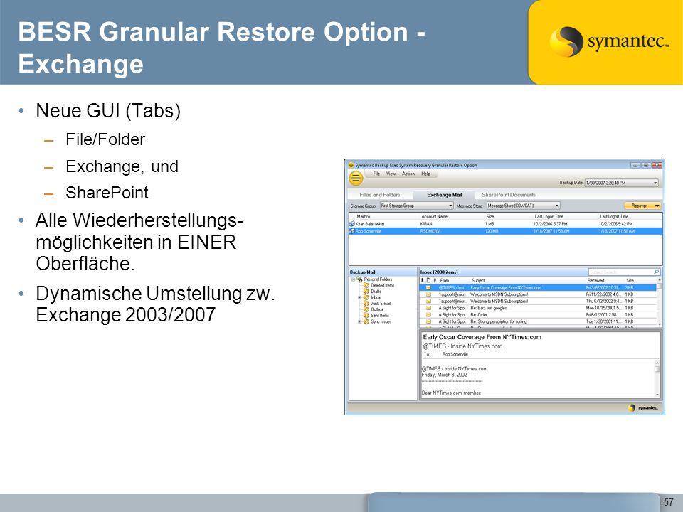 57 BESR Granular Restore Option - Exchange Neue GUI (Tabs) –File/Folder –Exchange, und –SharePoint Alle Wiederherstellungs- möglichkeiten in EINER Obe