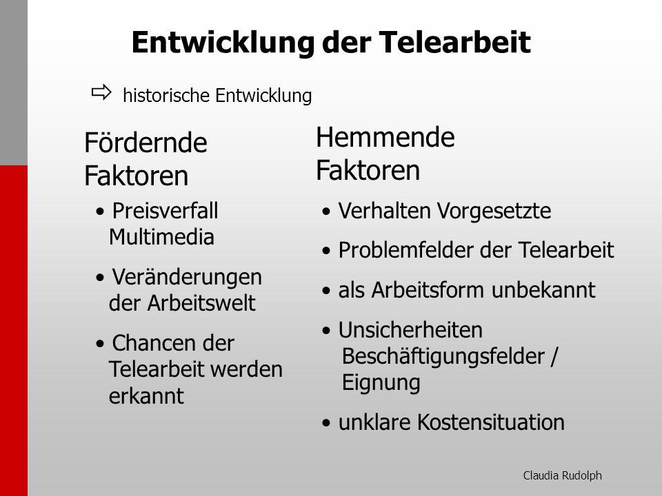 Claudia Rudolph Entwicklung der Telearbeit Fördernde Faktoren Hemmende Faktoren Preisverfall Multimedia Veränderungen der Arbeitswelt Chancen der Tele