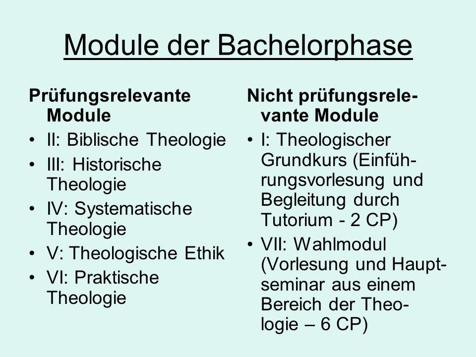 Module der Bachelorphase Prüfungsrelevante Module II: Biblische Theologie III: Historische Theologie IV: Systematische Theologie V: Theologische Ethik