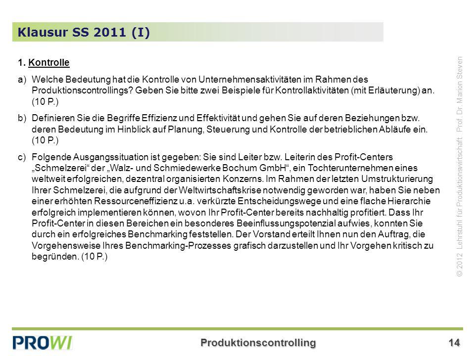 Produktionscontrolling14 © 2012 Lehrstuhl für Produktionswirtschaft Prof. Dr. Marion Steven Klausur SS 2011 (I) 1. Kontrolle a)Welche Bedeutung hat di
