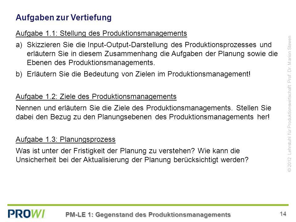 PM-LE 1: Gegenstand des Produktionsmanagements 14 © 2012 Lehrstuhl für Produktionswirtschaft Prof.