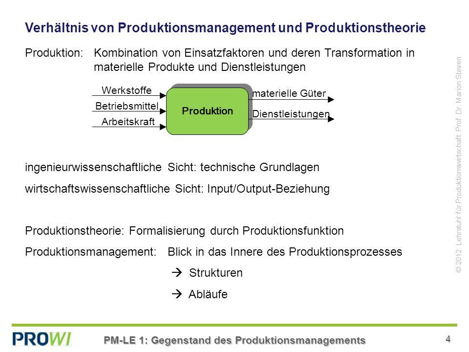 PM-LE 1: Gegenstand des Produktionsmanagements 4 © 2012 Lehrstuhl für Produktionswirtschaft Prof.