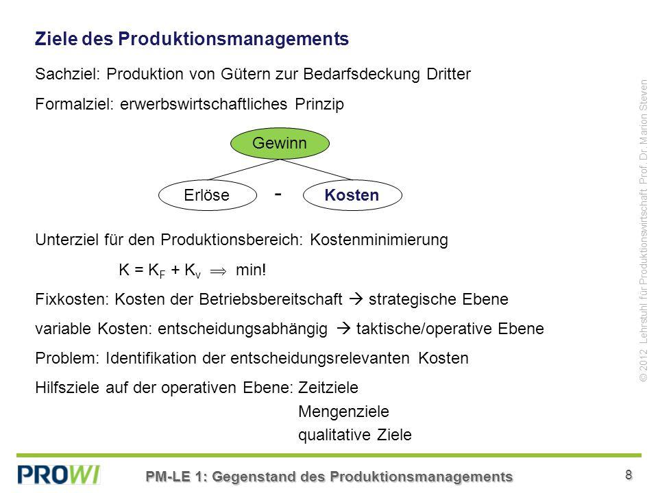 PM-LE 1: Gegenstand des Produktionsmanagements 8 © 2012 Lehrstuhl für Produktionswirtschaft Prof.