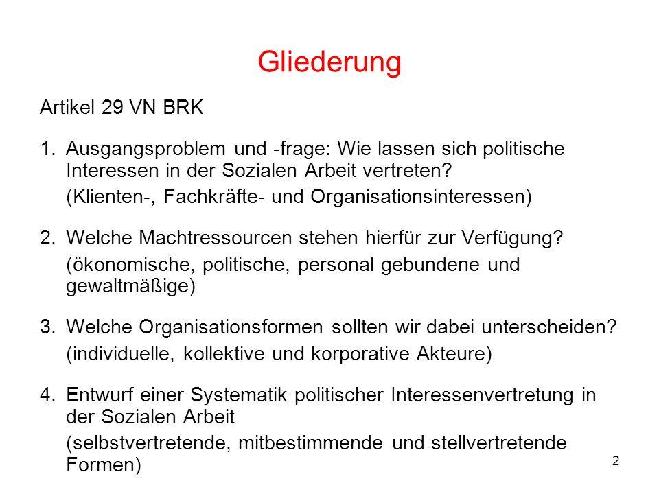 2 Gliederung Artikel 29 VN BRK 1.Ausgangsproblem und -frage: Wie lassen sich politische Interessen in der Sozialen Arbeit vertreten? (Klienten-, Fachk