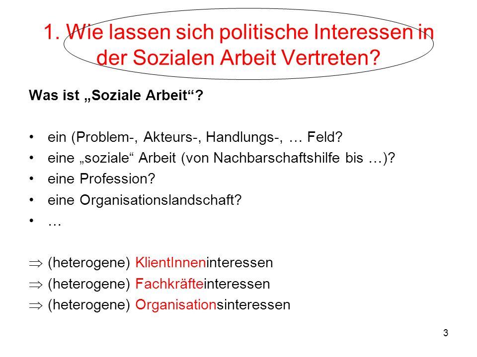 3 1. Wie lassen sich politische Interessen in der Sozialen Arbeit Vertreten? Was ist Soziale Arbeit? ein (Problem-, Akteurs-, Handlungs-, … Feld? eine