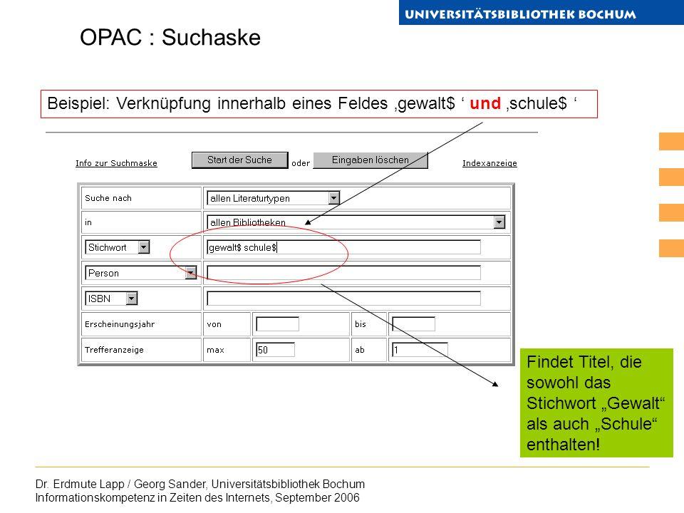 Dr. Erdmute Lapp / Georg Sander, Universitätsbibliothek Bochum Informationskompetenz in Zeiten des Internets, September 2006 OPAC : Suchaske Findet Ti