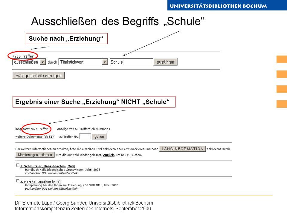 Dr. Erdmute Lapp / Georg Sander, Universitätsbibliothek Bochum Informationskompetenz in Zeiten des Internets, September 2006 Ausschließen des Begriffs