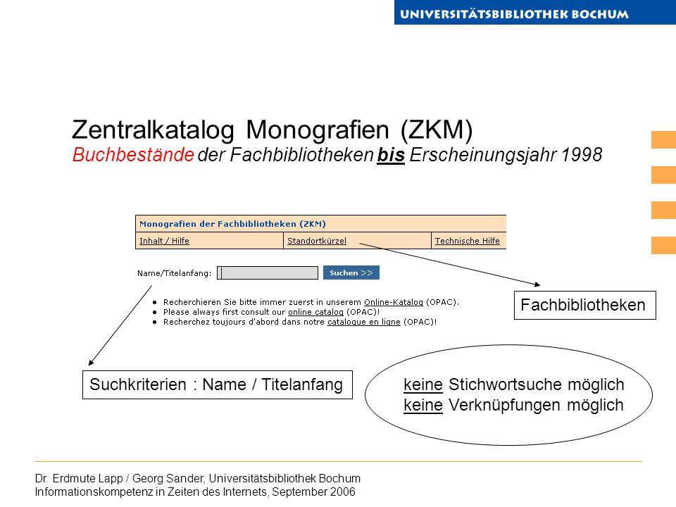Dr. Erdmute Lapp / Georg Sander, Universitätsbibliothek Bochum Informationskompetenz in Zeiten des Internets, September 2006 Zentralkatalog Monografie
