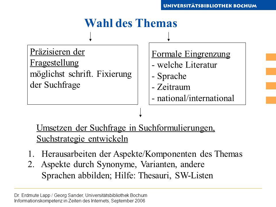 Dr. Erdmute Lapp / Georg Sander, Universitätsbibliothek Bochum Informationskompetenz in Zeiten des Internets, September 2006 Wahl des Themas Präzisier