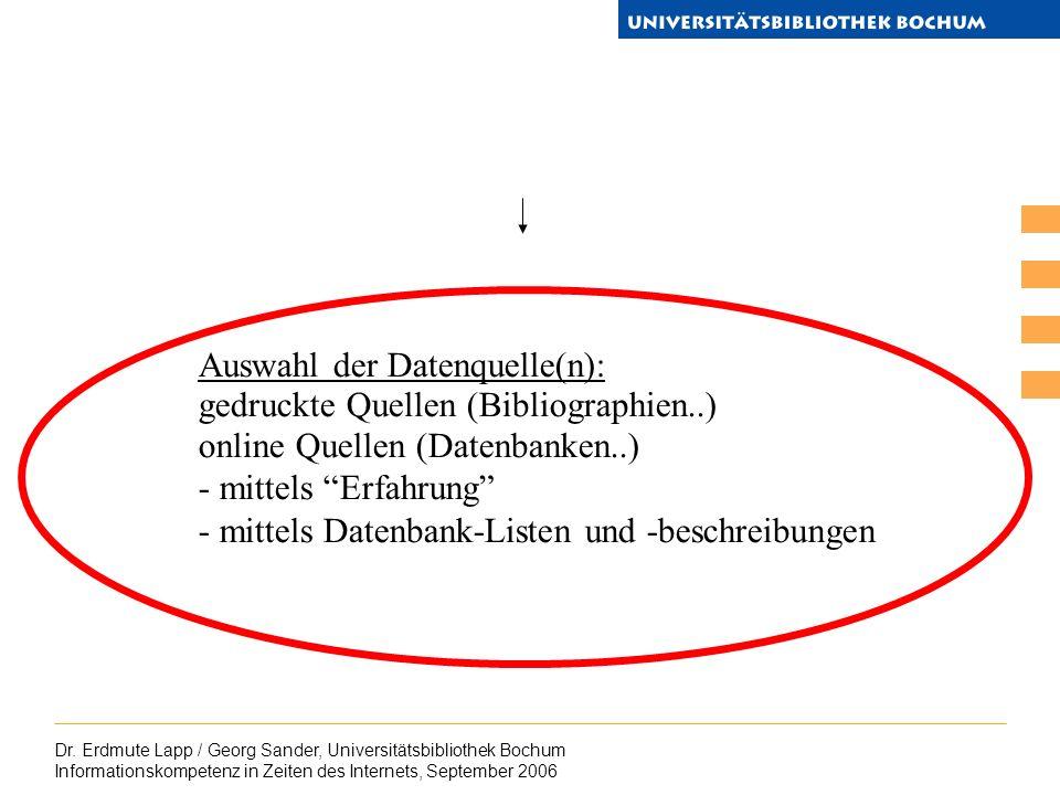 Dr. Erdmute Lapp / Georg Sander, Universitätsbibliothek Bochum Informationskompetenz in Zeiten des Internets, September 2006 Auswahl der Datenquelle(n