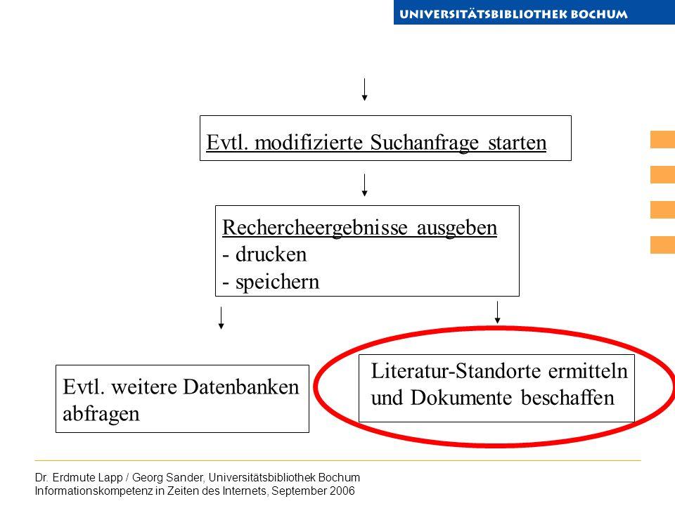 Dr. Erdmute Lapp / Georg Sander, Universitätsbibliothek Bochum Informationskompetenz in Zeiten des Internets, September 2006 Evtl. modifizierte Suchan