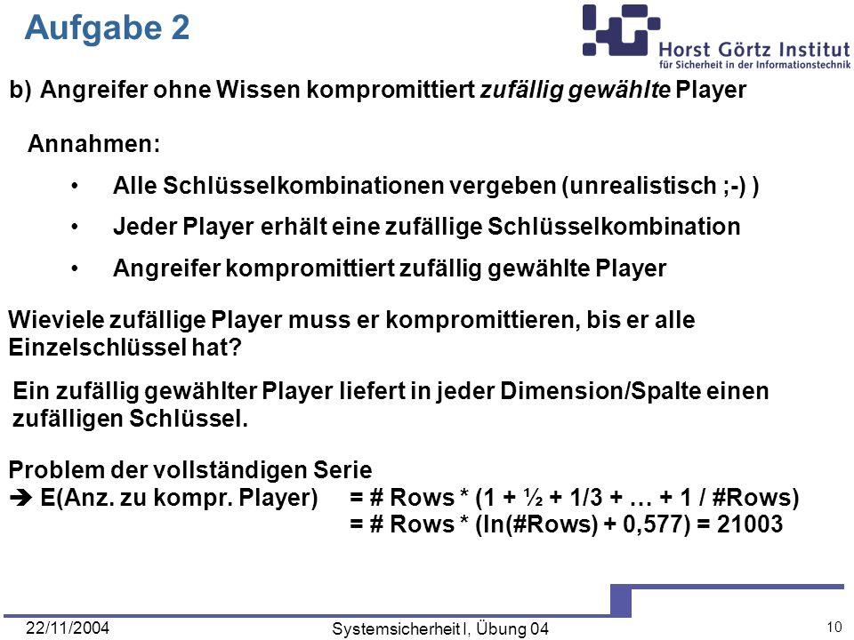22/11/2004 Systemsicherheit I, Übung 04 10 Aufgabe 2 b) Angreifer ohne Wissen kompromittiert zufällig gewählte Player Annahmen: Alle Schlüsselkombinat