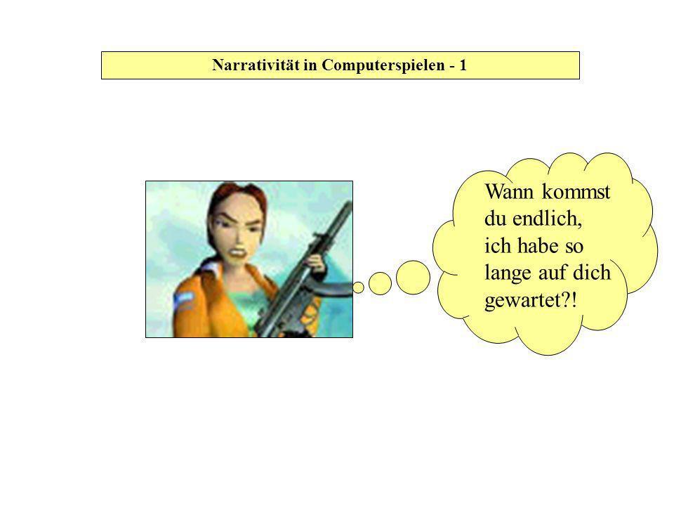 Narrativität in Computerspielen - 32 Texttypen nach Chatman 1990 Text Narrative Argument MimeticDiegetic EpicNovel DescriptionOther Etc.PlayMovieCartoonOther Narrativität in Computerspielen - 32