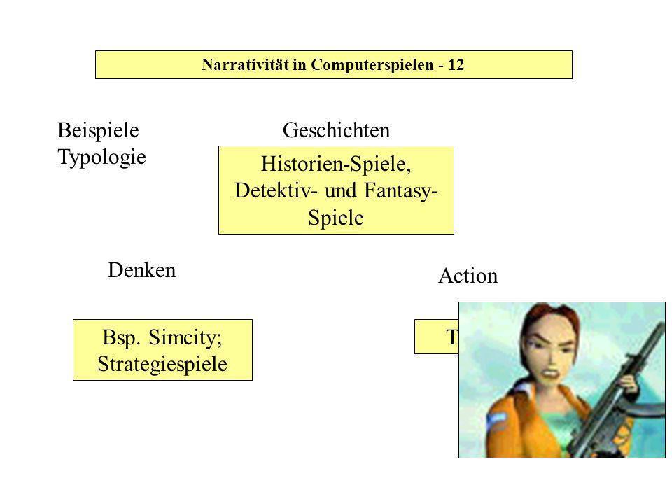 Narrativität in Computerspielen - 12 Historien-Spiele, Detektiv- und Fantasy- Spiele Bsp. Simcity; Strategiespiele Geschichten Tomb Raider Beispiele T