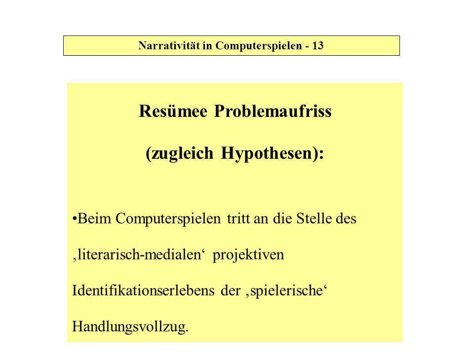 Resümee Problemaufriss (zugleich Hypothesen): Beim Computerspielen tritt an die Stelle des literarisch-medialen projektiven Identifikationserlebens de