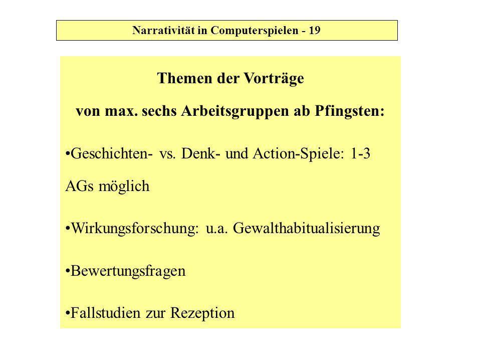 Themen der Vorträge von max. sechs Arbeitsgruppen ab Pfingsten: Geschichten- vs. Denk- und Action-Spiele: 1-3 AGs möglich Wirkungsforschung: u.a. Gewa