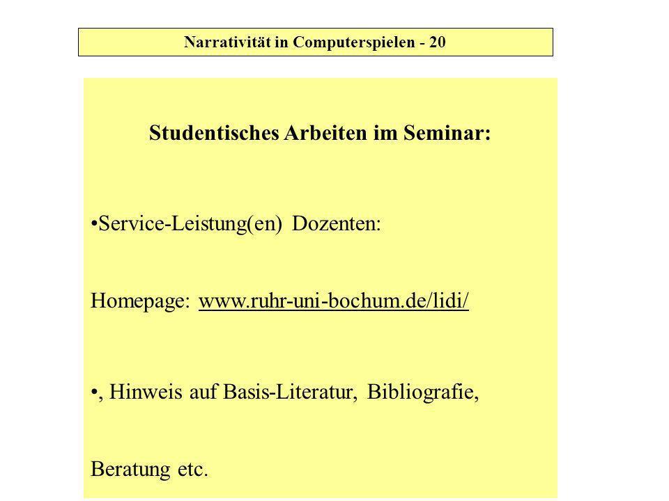 Studentisches Arbeiten im Seminar: Service-Leistung(en) Dozenten: Homepage: www.ruhr-uni-bochum.de/lidi/, Hinweis auf Basis-Literatur, Bibliografie, B