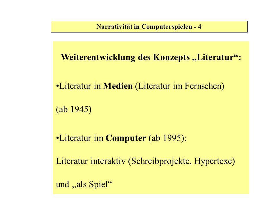 Narrativität in Computerspielen - 4 Weiterentwicklung des Konzepts Literatur: Literatur in Medien (Literatur im Fernsehen) (ab 1945) Literatur im Comp