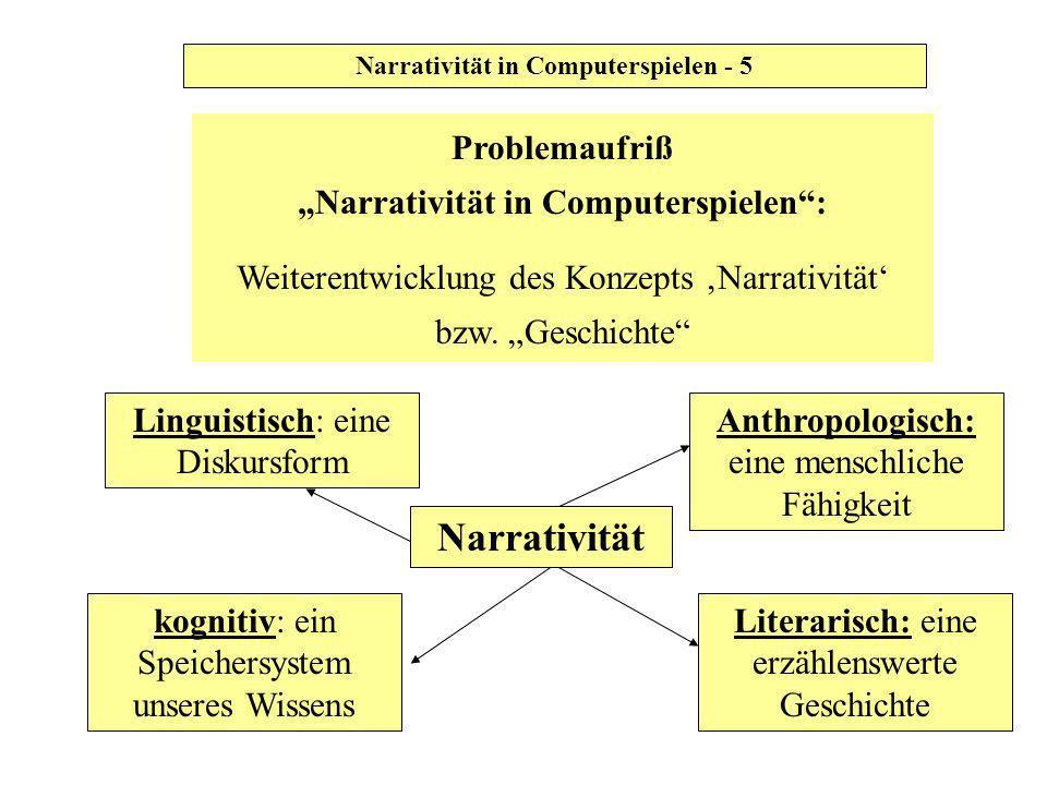 Narrativität in Computerspielen - 5 Problemaufriß Narrativität in Computerspielen: Weiterentwicklung des Konzepts Narrativität bzw. Geschichte Narrati