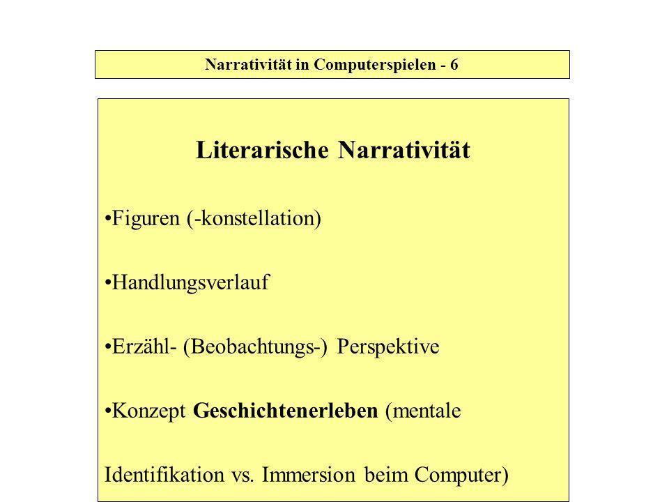 Literarische Narrativität Figuren (-konstellation) Handlungsverlauf Erzähl- (Beobachtungs-) Perspektive Konzept Geschichtenerleben (mentale Identifika