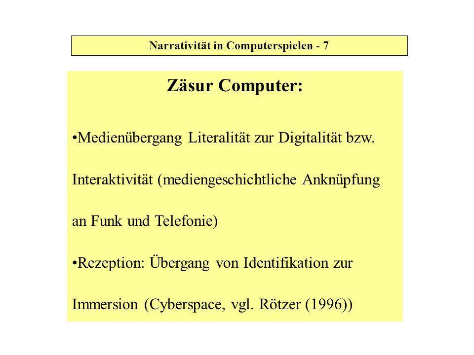 Einbezug Spiel (nach Oerter und Fritz&Fehr (1999)) Spiel = Form der Realitätstransformation Spiel-Ablauf gekennzeichnet durch Regelhaftigkeit und Wiederholung Narrativität in Computerspielen - 8