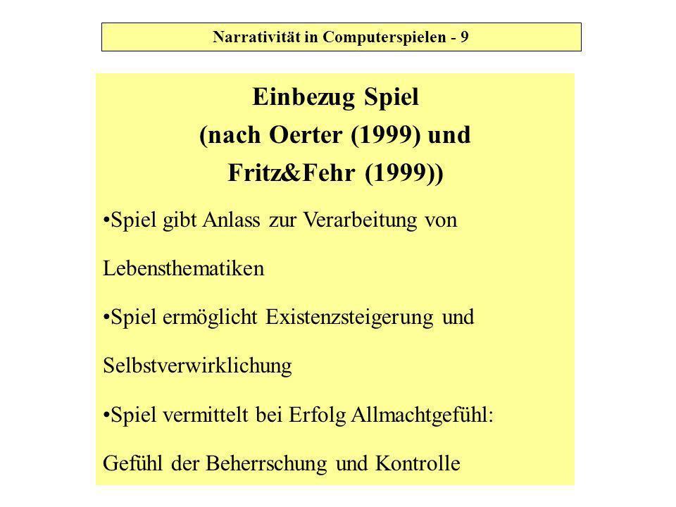 Einbezug Spiel (nach Oerter (1999) und Fritz&Fehr (1999)) Spiel gibt Anlass zur Verarbeitung von Lebensthematiken Spiel ermöglicht Existenzsteigerung