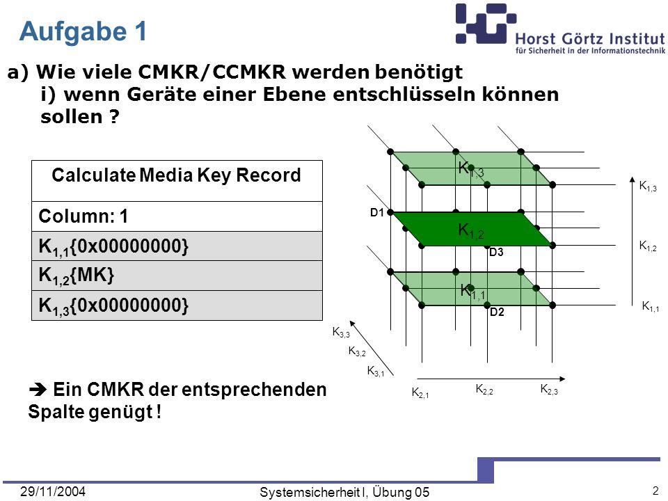 29/11/2004 Systemsicherheit I, Übung 05 2 D3 D1 D2 K 3,2 K 3,3 K 3,1 K 1,3 K 1,1 K 1,2 K 2,3 K 2,2 K 2,1 Aufgabe 1 a) Wie viele CMKR/CCMKR werden benötigt i) wenn Geräte einer Ebene entschlüsseln können sollen .