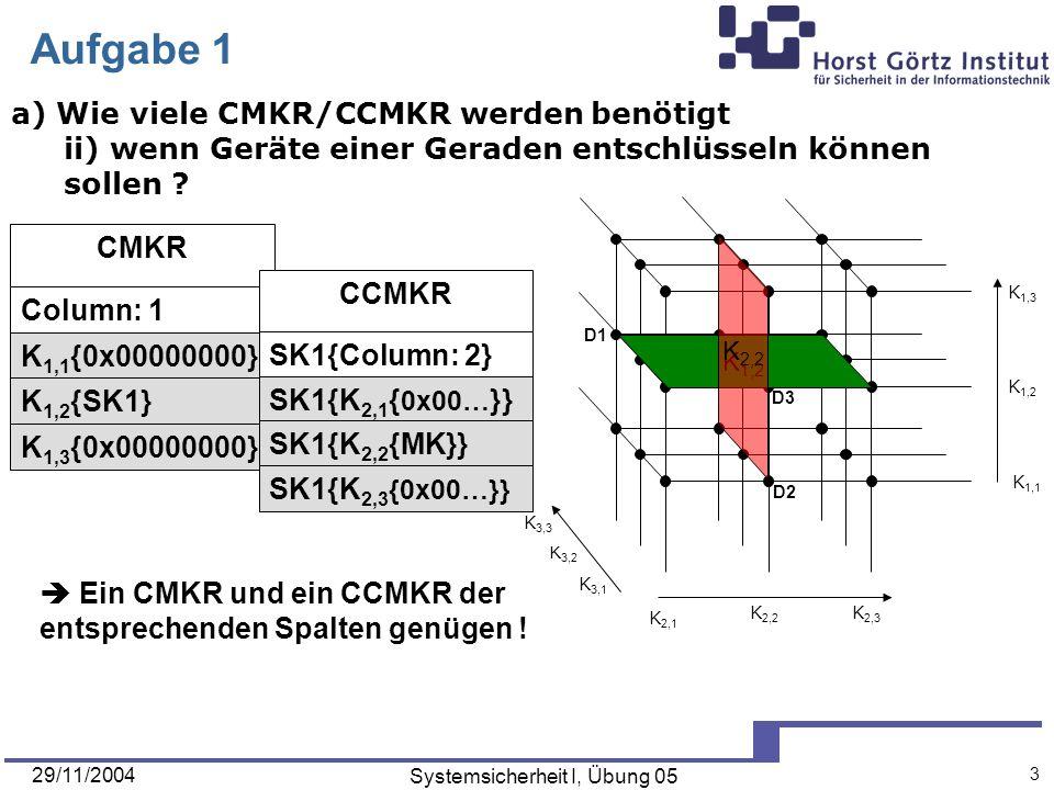 29/11/2004 Systemsicherheit I, Übung 05 4 D3 D1 D2 K 3,2 K 3,3 K 3,1 K 1,3 K 1,1 K 1,2 K 2,3 K 2,2 K 2,1 Aufgabe 1 a) Wie viele CMKR/CCMKR werden benötigt iii) wenn ein einzelnes Gerät (=Punkt) entschlüsseln können soll .