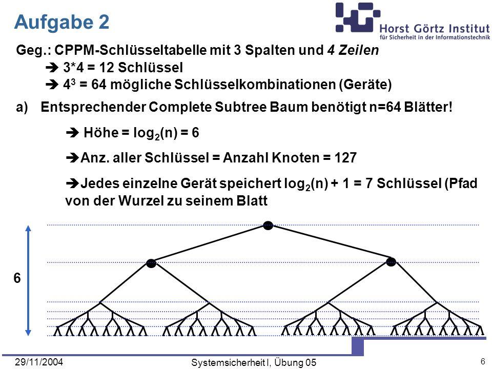 29/11/2004 Systemsicherheit I, Übung 05 6 Aufgabe 2 Geg.: CPPM-Schlüsseltabelle mit 3 Spalten und 4 Zeilen 3*4 = 12 Schlüssel 4 3 = 64 mögliche Schlüsselkombinationen (Geräte) 6 a)Entsprechender Complete Subtree Baum benötigt n=64 Blätter.