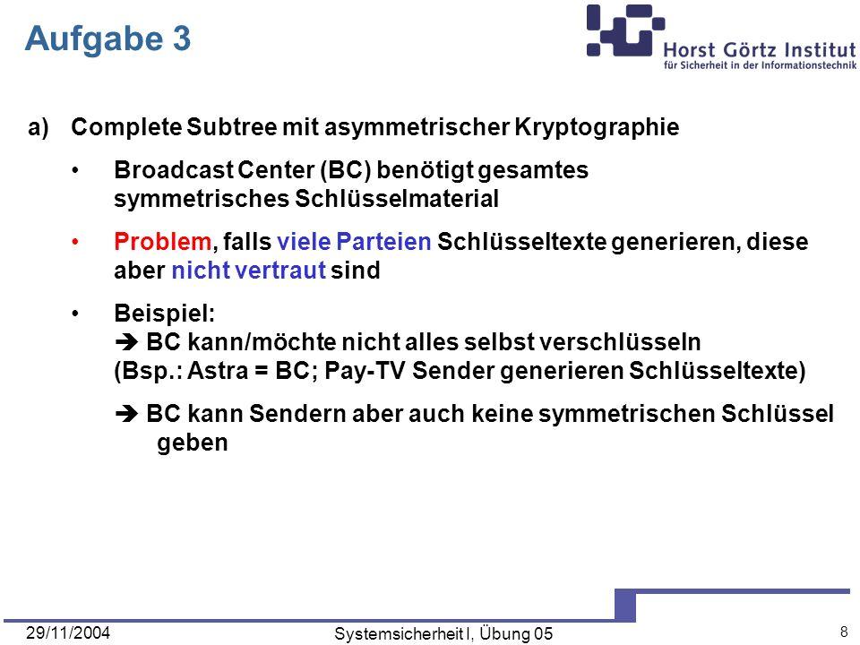 29/11/2004 Systemsicherheit I, Übung 05 9 Aufgabe 3 a)Complete Subtree mit asymmetrischer Kryptographie Lösung: Broadcast Center (BC) generiert Schlüsselpaare (sk, pk) (sk1, pk1) (sk2, pk2) (sk3,pk3) Empfängergeräte erhalten sk auf Pfad von Wurzel zu Blatt Sender erhalten alle öffentlichen Schlüssel pk Probleme bei Subset-Difference (nur zur Information!): Schlüssel werden durch Hashing aus Labels berechnet aufwändiger (Hashing liefert PRNs für Schlüsselerzeugung) Anzahl der public-keys ist linear in Anzahl der Subsets kurze Repräsentation mittels Hierarchical Identity-based Encryption