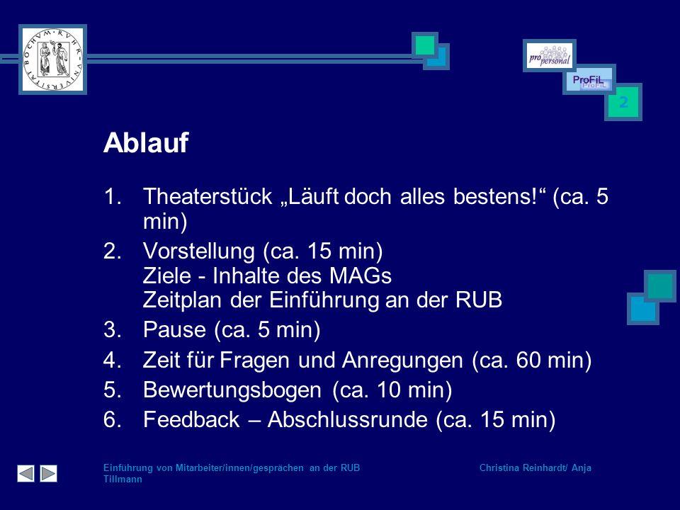 Einführung von Mitarbeiter/innen/gesprächen an der RUB Christina Reinhardt/ Anja Tillmann 2 Ablauf 1.Theaterstück Läuft doch alles bestens! (ca. 5 min