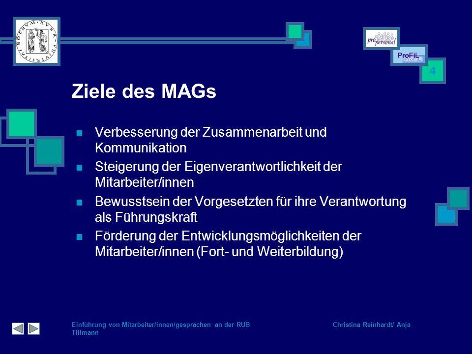 Einführung von Mitarbeiter/innen/gesprächen an der RUB Christina Reinhardt/ Anja Tillmann 4 Ziele des MAGs Verbesserung der Zusammenarbeit und Kommuni