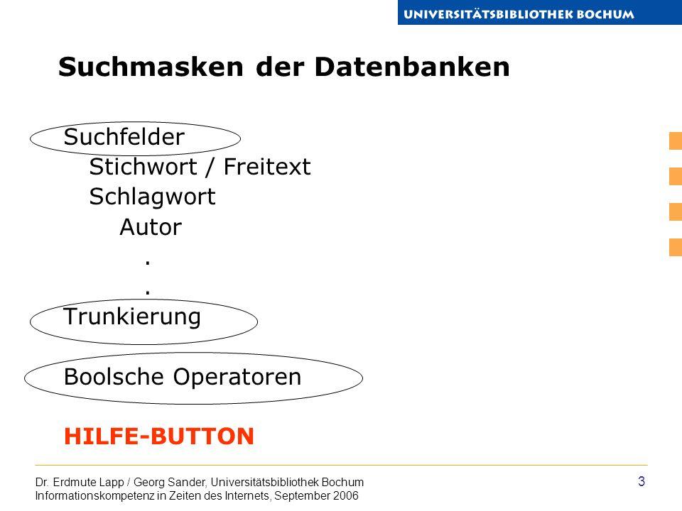 Dr. Erdmute Lapp / Georg Sander, Universitätsbibliothek Bochum Informationskompetenz in Zeiten des Internets, September 2006 3 Suchmasken der Datenban