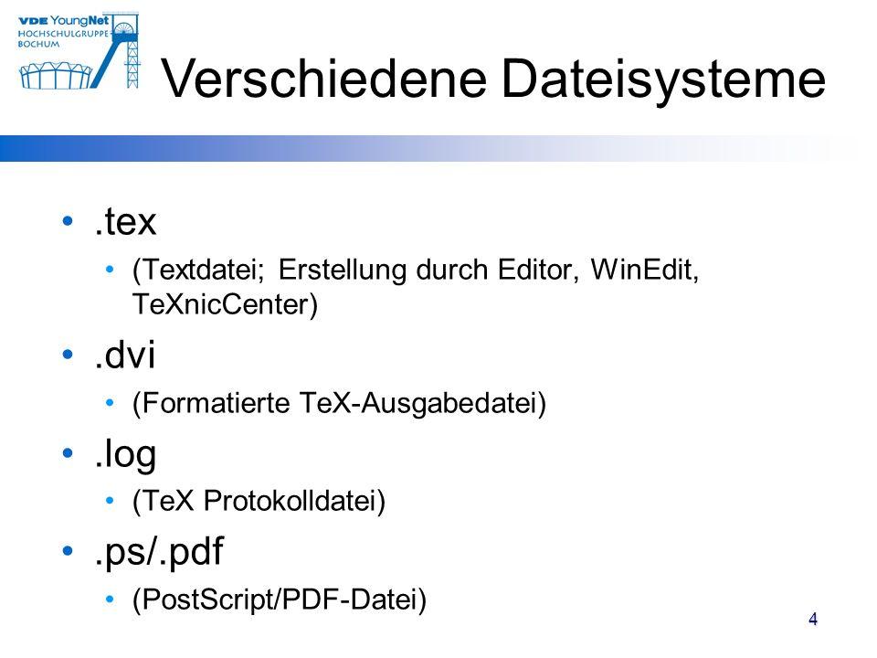 4.tex (Textdatei; Erstellung durch Editor, WinEdit, TeXnicCenter).dvi (Formatierte TeX-Ausgabedatei).log (TeX Protokolldatei).ps/.pdf (PostScript/PDF-