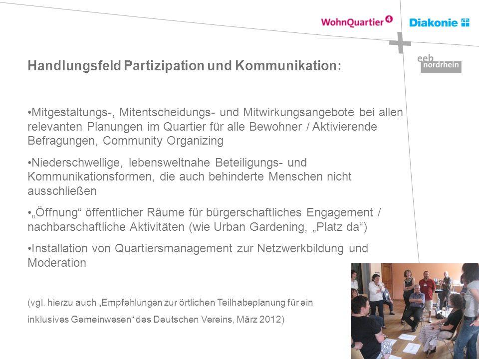 Handlungsfeld Partizipation und Kommunikation: Mitgestaltungs-, Mitentscheidungs- und Mitwirkungsangebote bei allen relevanten Planungen im Quartier f