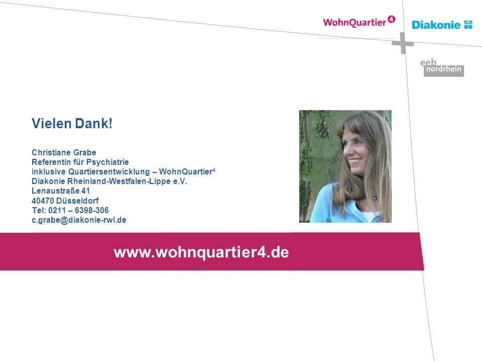 Vielen Dank! Christiane Grabe Referentin für Psychiatrie inklusive Quartiersentwicklung – WohnQuartier 4 Diakonie Rheinland-Westfalen-Lippe e.V. Lenau
