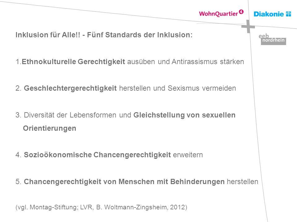 Inklusion für Alle!! - Fünf Standards der Inklusion: 1.Ethnokulturelle Gerechtigkeit ausüben und Antirassismus stärken 2. Geschlechtergerechtigkeit he