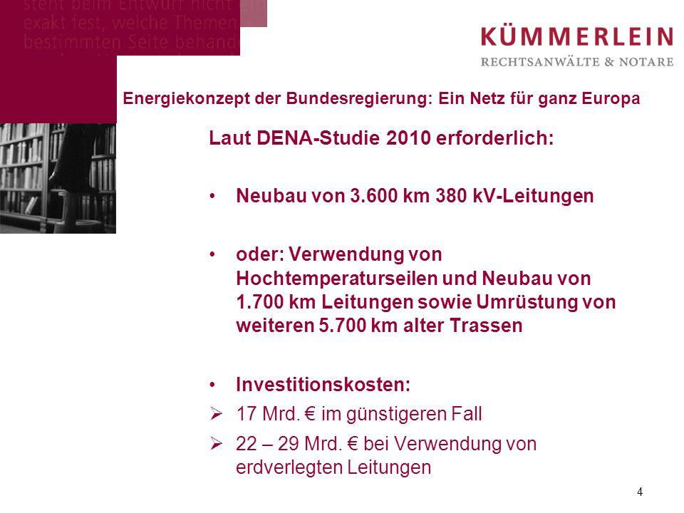 Laut DENA-Studie 2010 erforderlich: Neubau von 3.600 km 380 kV-Leitungen oder: Verwendung von Hochtemperaturseilen und Neubau von 1.700 km Leitungen sowie Umrüstung von weiteren 5.700 km alter Trassen Investitionskosten: 17 Mrd.