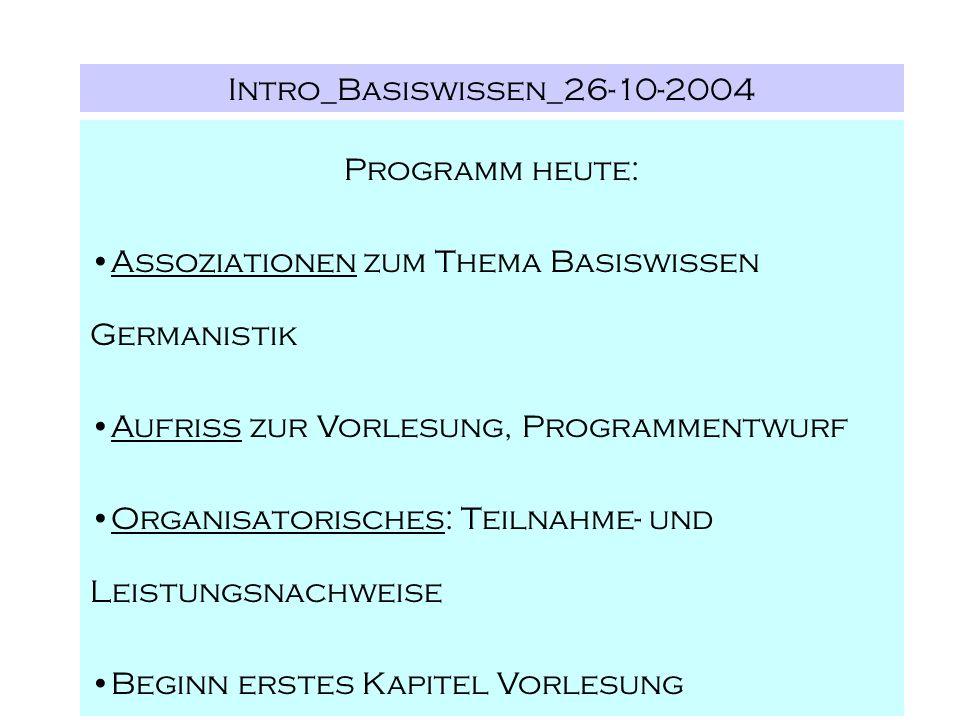 Intro_Basiswissen_26-10-2004 Programm heute: Assoziationen zum Thema Basiswissen Germanistik Aufriss zur Vorlesung, Programmentwurf Organisatorisches: Teilnahme- und Leistungsnachweise Beginn erstes Kapitel Vorlesung
