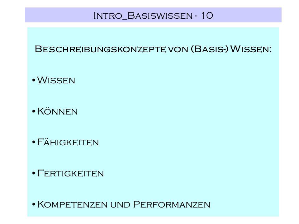 Intro_Basiswissen - 10 Beschreibungskonzepte von (Basis-) Wissen: Wissen Können Fähigkeiten Fertigkeiten Kompetenzen und Performanzen