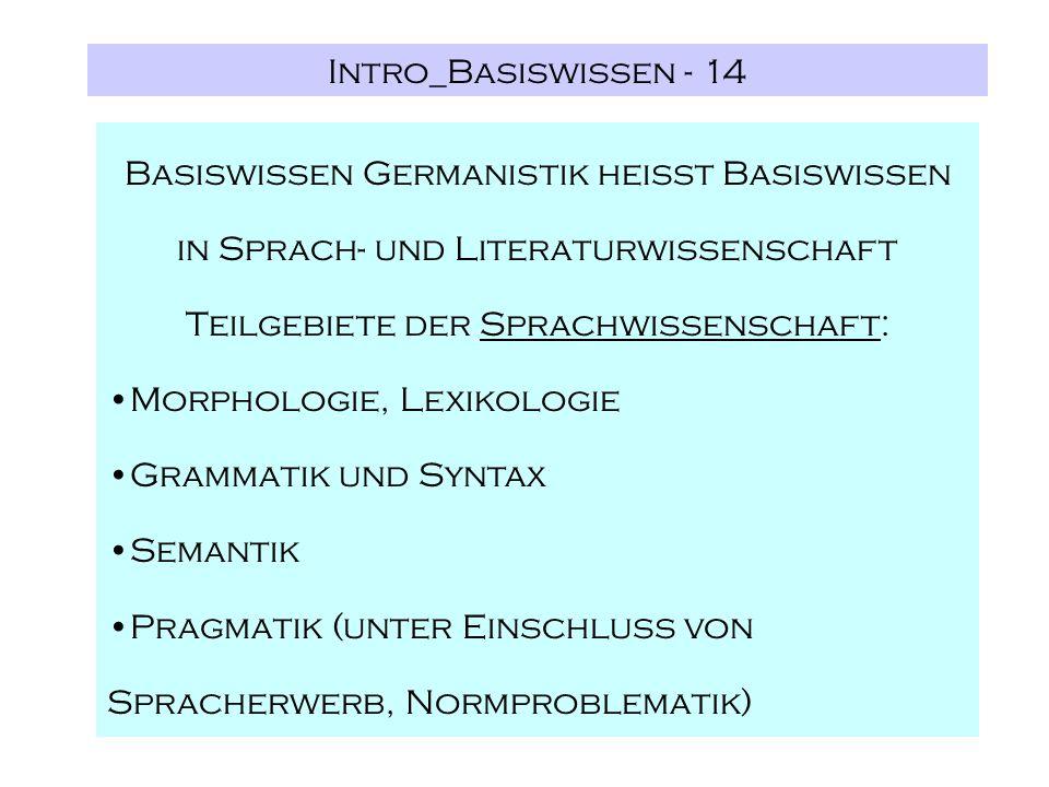 Intro_Basiswissen - 14 Basiswissen Germanistik heißt Basiswissen in Sprach- und Literaturwissenschaft Teilgebiete der Sprachwissenschaft: Morphologie, Lexikologie Grammatik und Syntax Semantik Pragmatik (unter Einschluss von Spracherwerb, Normproblematik)