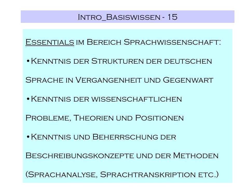 Intro_Basiswissen - 15 Essentials im Bereich Sprachwissenschaft: Kenntnis der Strukturen der deutschen Sprache in Vergangenheit und Gegenwart Kenntnis
